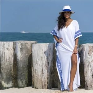 White Beach Maxi Coverup Duster One Size